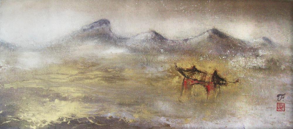 Baïkal, La porte de la destinée, 2010 | Poudre d'or et pigments sur toile | 60 x 135 cm