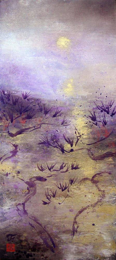 Korea, La danse des arbres, 2010 | Poudre d'or et pigments sur toile | 130 x 57 cm - Collection particulière