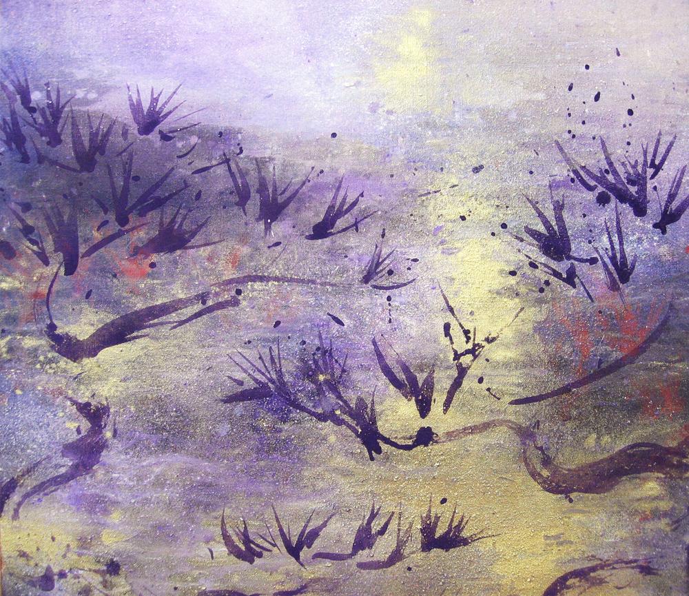 Korea, La danse des arbres (détail), 2010 | Poudre d'or et pigments sur toile | 130 x 57 cm