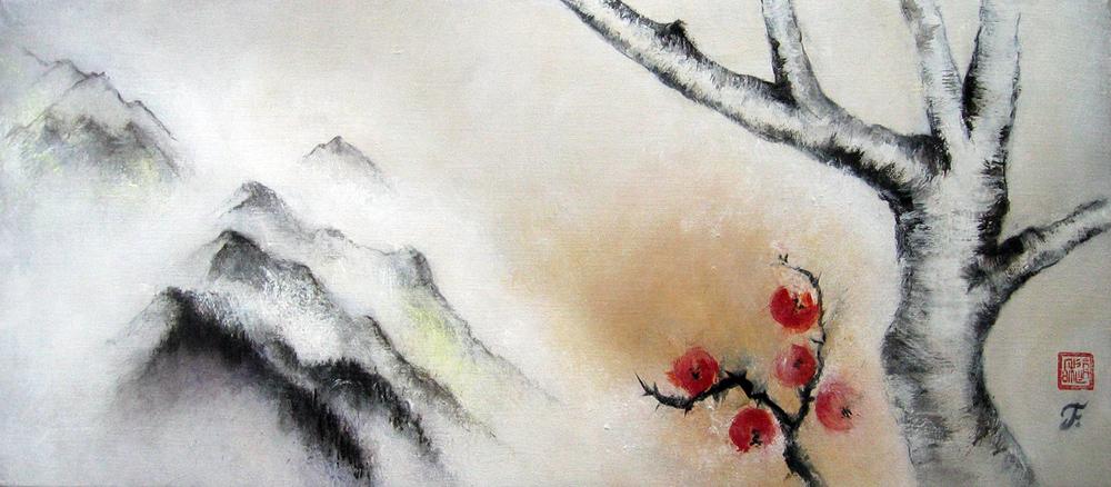 Errance, été, 2009 | Pigments sur toile | 52 x 120 cm