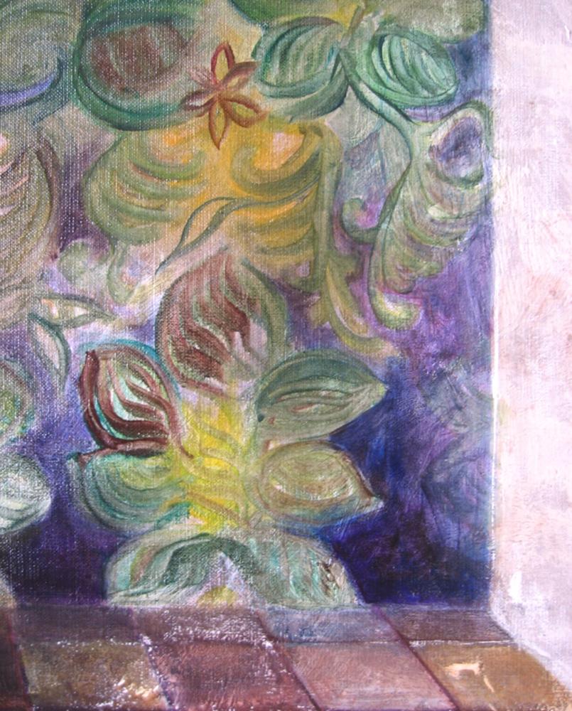 Carmélia et le manguier (détail), 2005 | Huile sur toile, collages | 116 x 146 cm