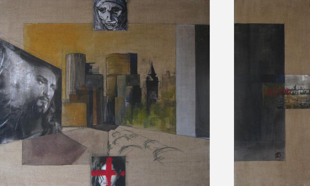 São Paulo, dyptique, 1999 | Huile sur toile, collages | 76 x 84 / 76 x 30 cm, Collection particulière