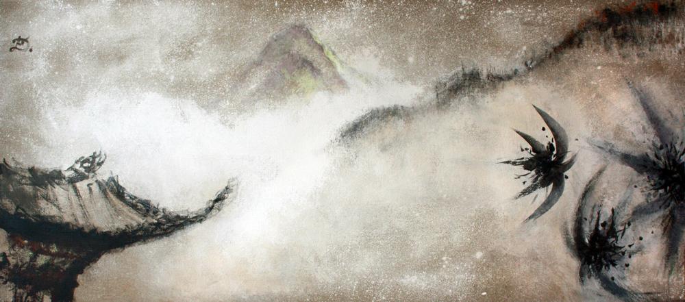 Kham, visite au lama, 2008 | Pigments sur toile | 65 x 150 cm