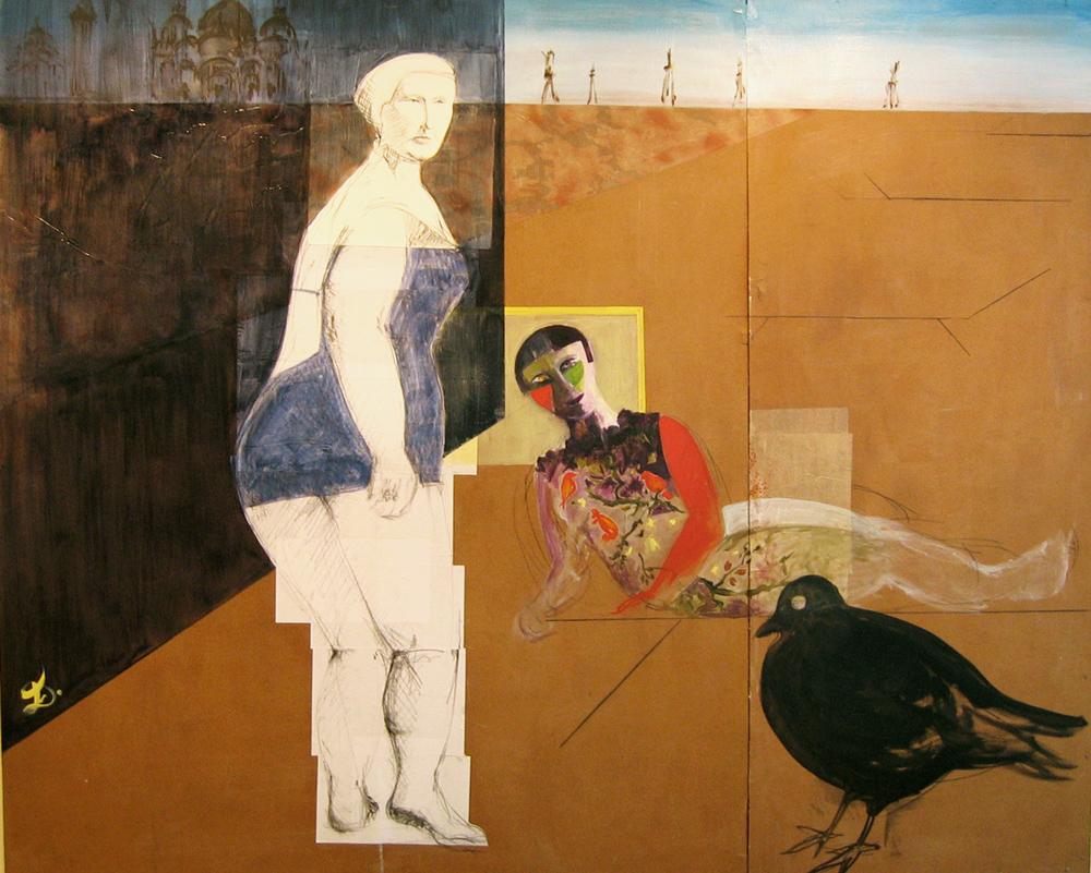 La grand-mère, la jeune fille et le pigeon, 2003 | Huile sur isorel, collages | 180 x 220 cm - Collection de l'artiste