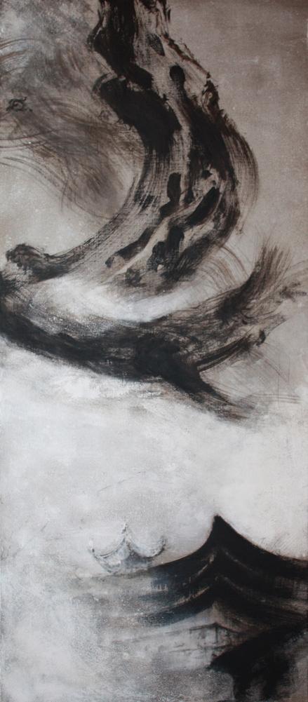 Sichuan, reine & dragon, 2008 | Pigments sur toile | 150 x 65 cm
