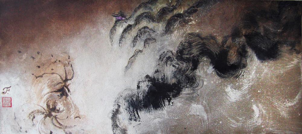 Errance, printemps, 2009 | Pigments sur toile | 52 x 120 cm - Collection particulière