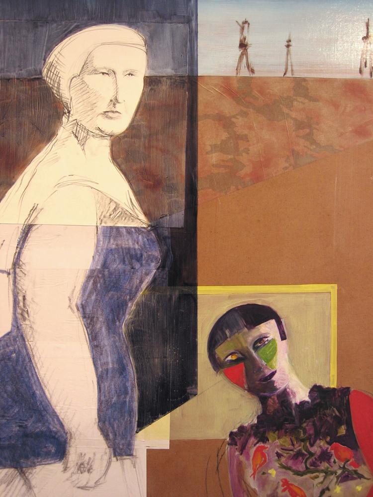 La grand-mère, la jeune fille et le pigeon (détail), 2003 | Huile sur isorel, collages | 180 x 220 cm - Collection de l'artiste