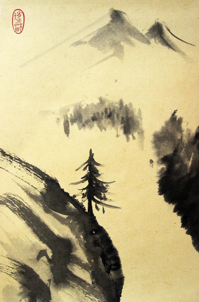 Paysage au mélèze, été, 2009 | Encre sur papier - Collection particulière