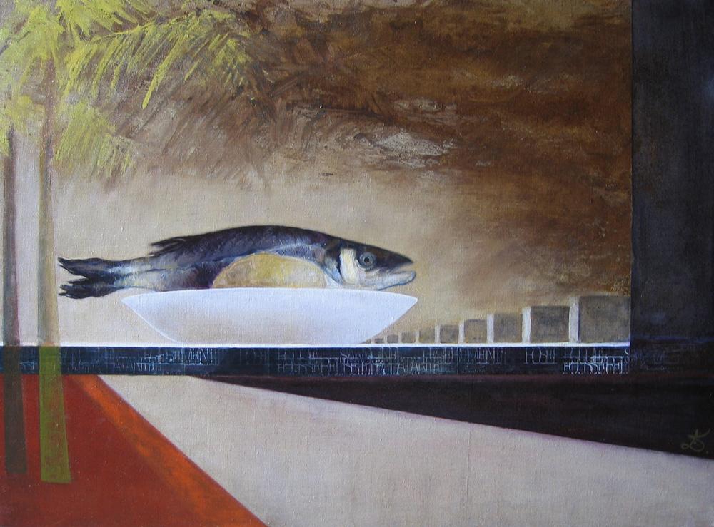 Brasilia et le poisson, 2005 | Huile sur toile, collages | 74 x 101 cm - Collection particulière