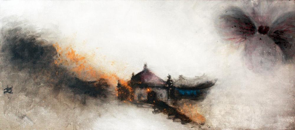 Emeishan, 2008 | Pigments sur toile | 65 x 150 cm - Collection particulière