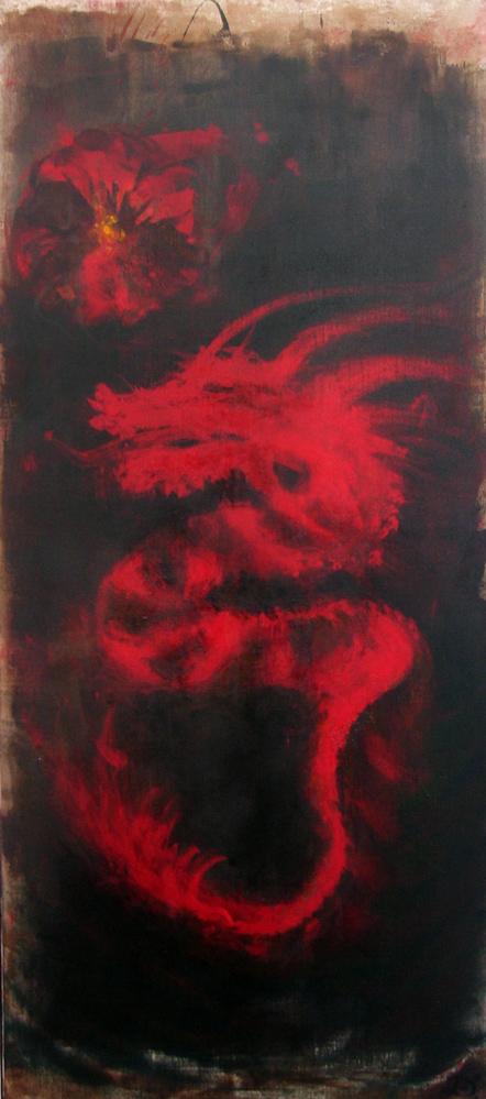 Parade du dragon, 2008 | Pigments sur toile | 65 x 150 cm