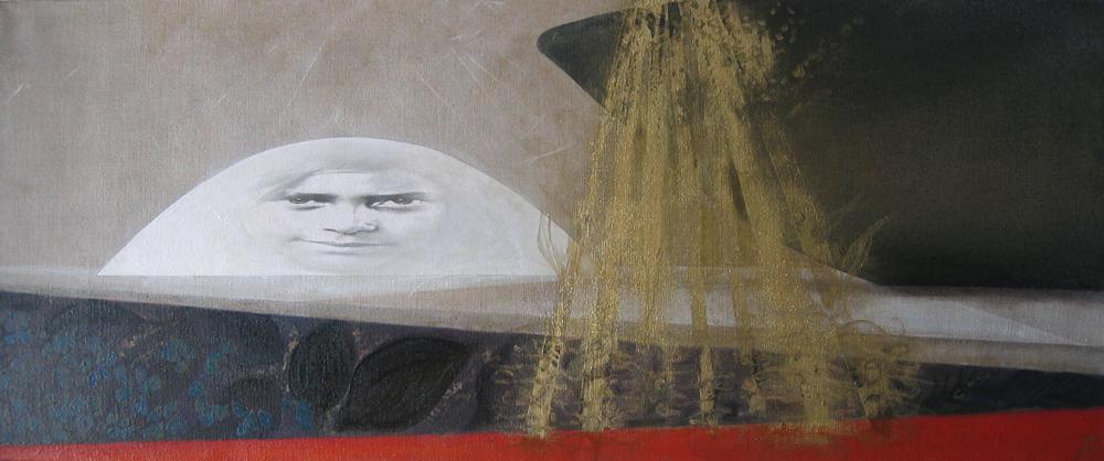 Brasilia après la pluie, diptyque, 2005 | Huile sur toile, collages | 45 x 110 cm