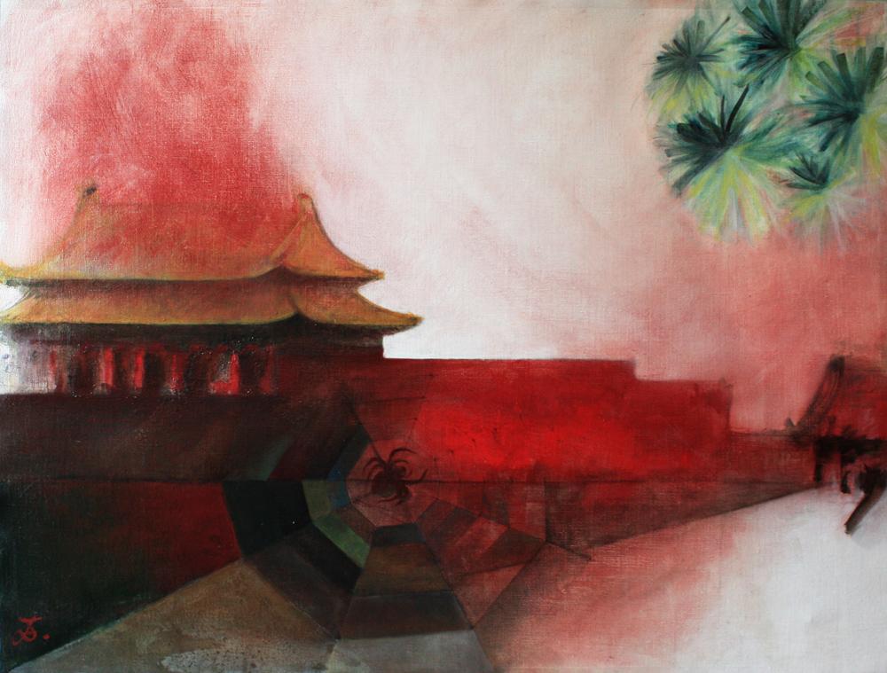 Coeur de Pékin, 2008 | Pigments sur toile | 88 x 116 cm