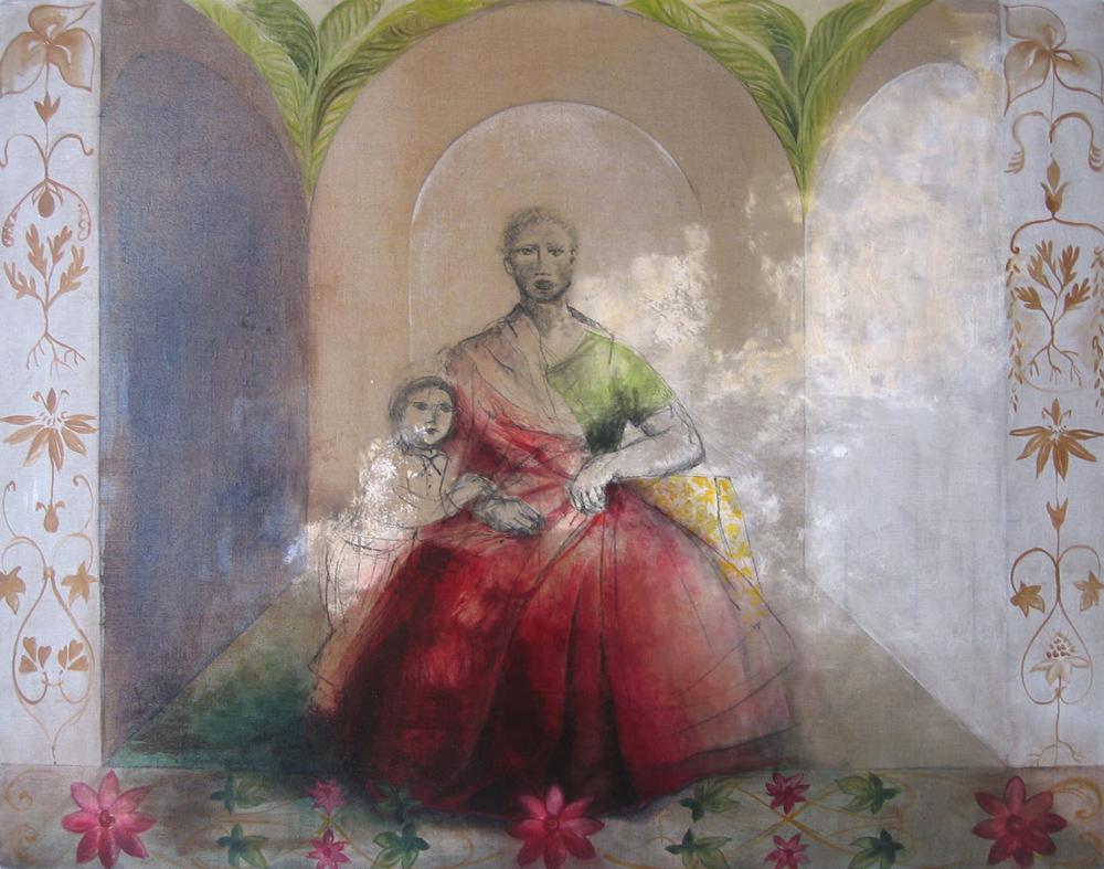 Carmélia, 2005 | Huile sur toile, collages | 116 x 146 cm