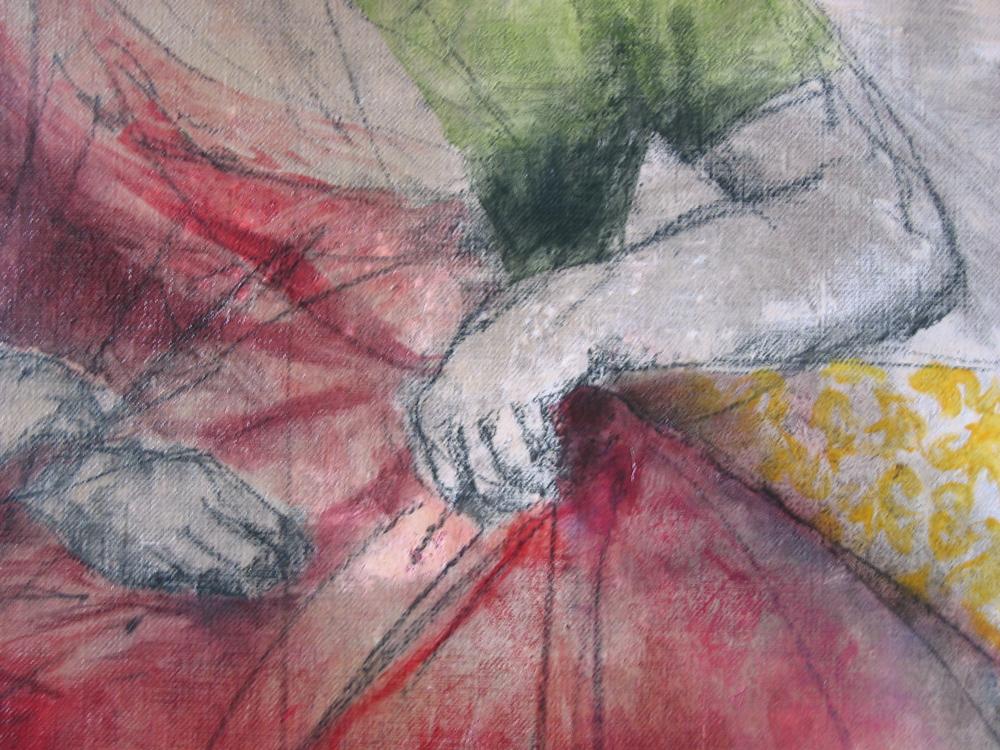 Carmélia (détail), , 2005 | Huile sur toile, collages | 116 x 146 cm