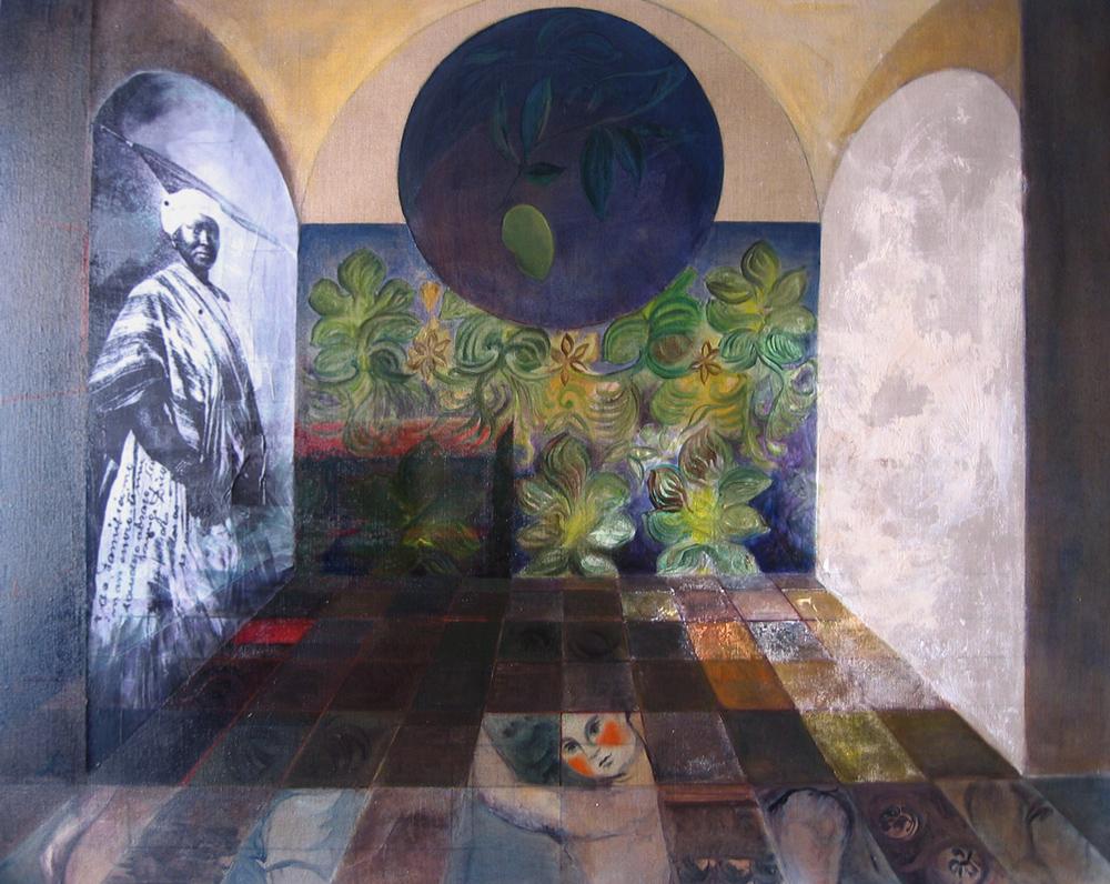 Carmélia et le manguier, 2005 | Huile sur toile, collages | 116 x 146 cm