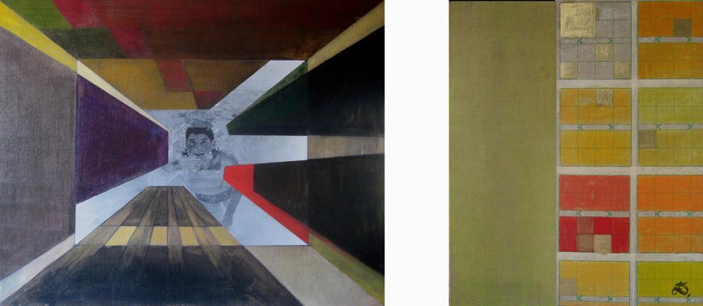 New York - triptyque, 2003 | Huile sur toile, collages | 73x92 / 73x26 / 73x36 cm - Collection particulière