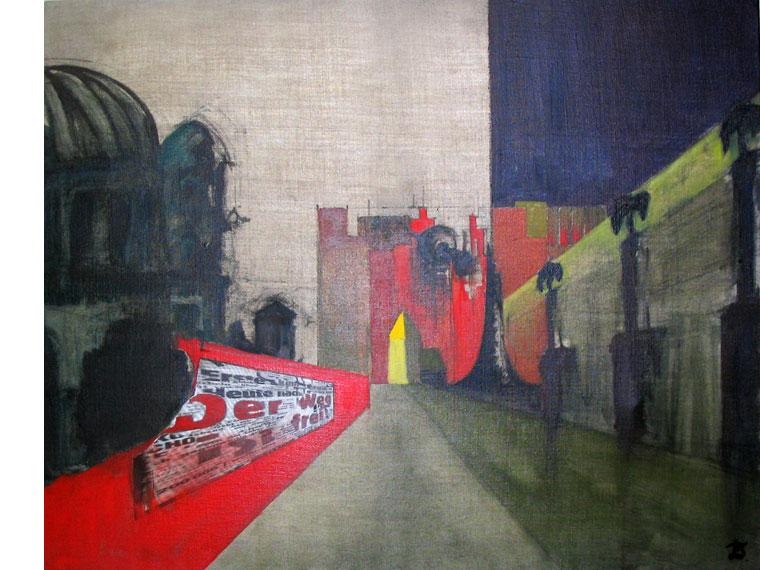 Berlin, triptyque, 1999 | Huile sur toile, collages | 66 x 81 cm - Collection particulière