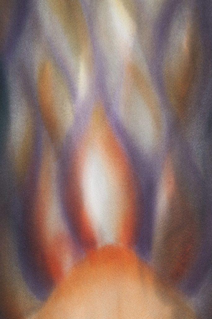Le rituel du feu, extrait, 2014 I Yusen sur soie japonaise I Photo : Armelle Bouret