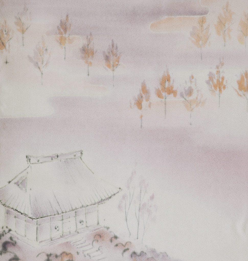Eikando, extrait, 2014 I Yusen sur soie japonaise I 113 x 37 cm I Photo : Armelle Bouret