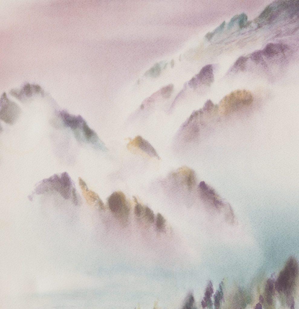 Descendre la rivière, extrait, 2015 I Yusen sur soie japonaise I 119 x 37 cm I Photo : Armelle Bouret