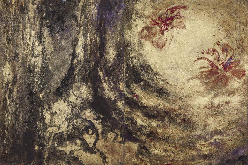La danse du dragon, extrait, 2012 | Poudre d'or et pigments sur toile | 81 x 300 cm | photo : Armelle Bouret