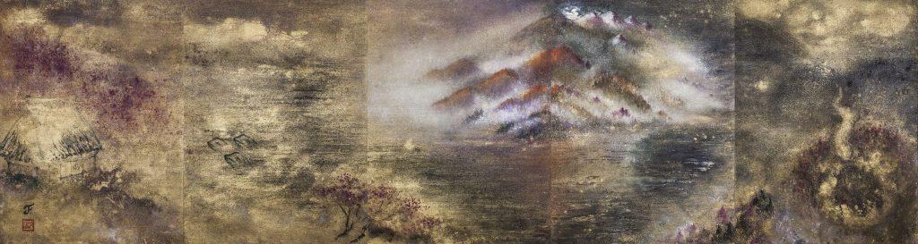 La rivière de lune, 2012-14 | Poudre d'or et pigments sur toile | 81 x 300 cm | photo : Armelle Bouret