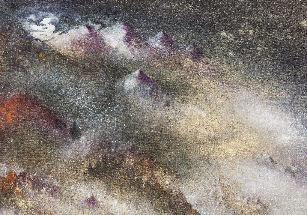 La rivière de lune, extrait, 2012-14 | Poudre d'or et pigments sur toile | 81 x 300 cm | photo : Armelle Bouret